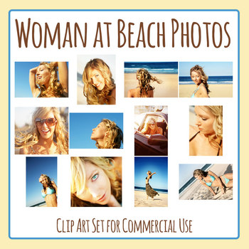 Woman on the Summer Beach Photos / Photograph Clip Art Set Commercial Use