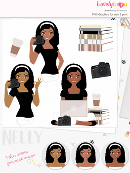 Woman photographer character clipart, photo girl avatar clip art (Nelly L196)