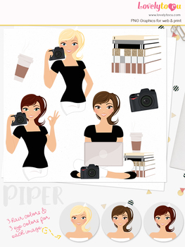 Woman photographer character clipart, photo girl clip art (Piper L195)