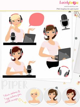 Woman podcast character clipart, webinar girl clip art (Piper L265)