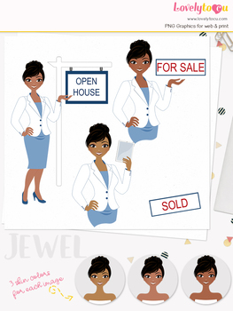 Woman realtor character clipart, real estate girl avatar clip art (Jewel 116)