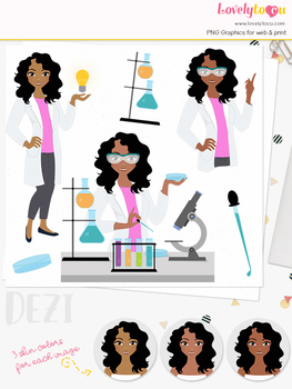 Woman science teacher character clipart, chemistry girl clip art (Dezi L292)