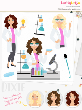 Woman science teacher character clipart, chemistry girl clip art (Dixie L291)
