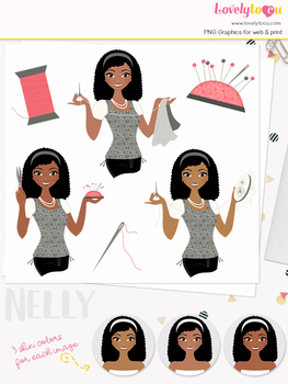 Woman sewing character clipart, crafts girl avatar clip art (Nelly L168)