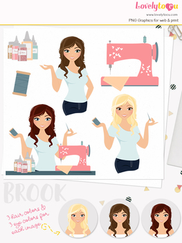 Woman sewing character clipart, crafts girl clip art (Brook L153)