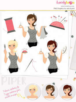 Woman sewing character clipart, crafts girl clip art (Piper L167)
