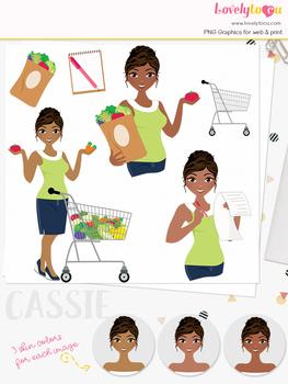 Woman shopper character clipart, groceries girl avatar clip art (Cassie L262)