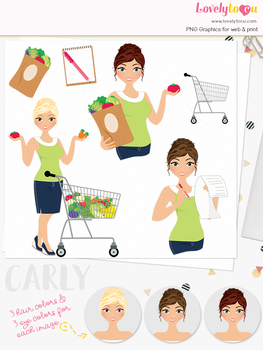 Woman shopper character clipart, groceries girl clip art (Carly L261)