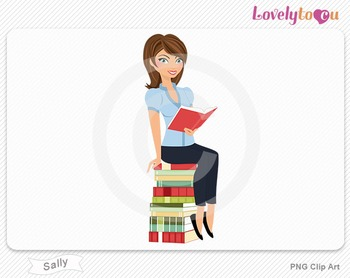 Woman sitting on book stack reading PNG clip art (Sally 502)