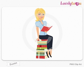 Woman sitting on book stack reading PNG clip art (Susan 502)