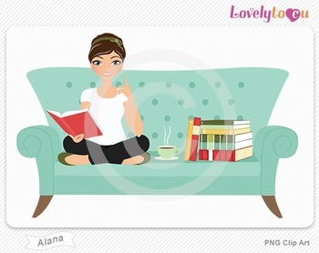 Woman sitting on sofa reading a book PNG clip art (Alana 512)