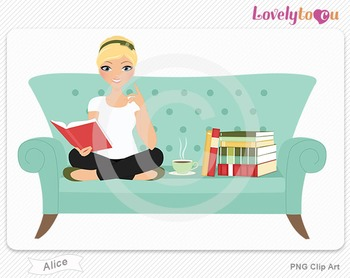 Woman sitting on sofa reading a book PNG clip art (Alice 512)
