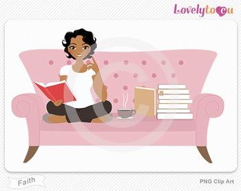 Woman sitting on sofa reading a book PNG clip art (Faith 512b)