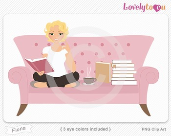 Woman sitting on sofa reading a book PNG clip art (Fiona 512b)