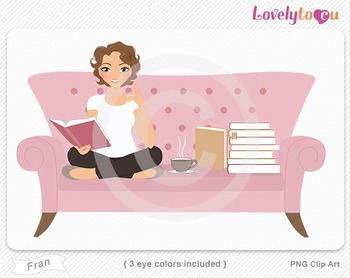 Woman sitting on sofa reading a book PNG clip art (Fran 512b)