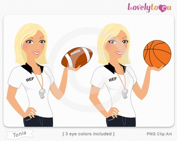 Woman sports referee football and basketball PNG clip art