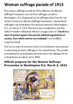 Woman suffrage parade of 1913 Handout