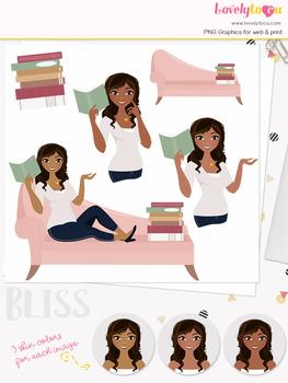 Woman teacher character clipart, book girl avatar clip art (Bliss L148)