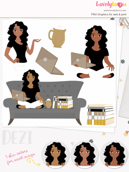 Woman teacher character clipart, book girl avatar clip art (Dezi L150)