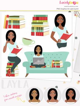 Woman teacher character clipart, book girl avatar clip art (Layla L152)