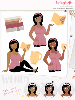 Woman teacher character clipart, book girl avatar clip art (Wendy L144)