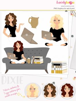 Woman teacher character clipart, book girl clip art (Dixie L149)