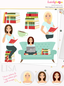 Woman teacher character clipart, book girl clip art (Lisa L151)