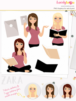 Woman teacher character clipart, book girl clip art (Zara L141)