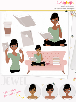 Woman teacher character clipart, book ipad girl avatar clip art (Jewel L146)