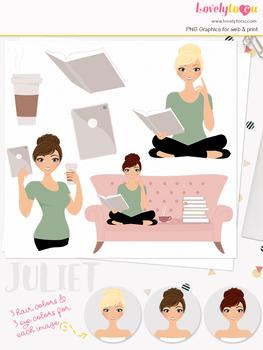 Woman teacher character clipart, book ipad girl clip art (Juliet L145)