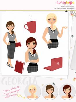 Woman teacher character clipart, business girl avatar clip art (Georgia L103)