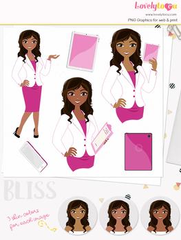 Woman teacher character clipart, business girl avatar clip art (Bliss L112)