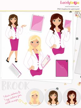 Woman teacher character clipart, business girl avatar clip art (Brook L111)