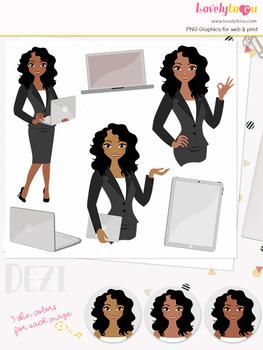 Woman teacher character clipart, business girl avatar clip art (Dezi L110)