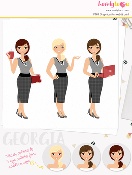 Woman teacher character clipart, business girl avatar clip art (Georgia L105)