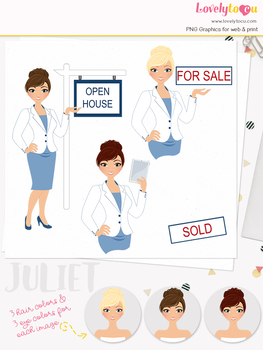 Woman realtor character clipart, real estate girl avatar clip art (Juliet L115)