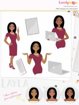 Woman teacher character clipart, business girl avatar clip art (Layla L114)