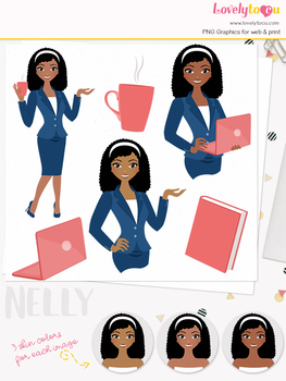 Woman teacher character clipart, business girl avatar clip art (Nelly L108)