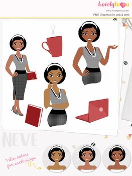 Woman teacher character clipart, business girl avatar clip art (Neve L104)