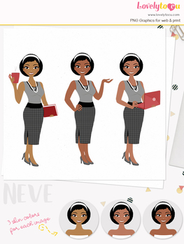 Woman teacher character clipart, business girl avatar clip art (Neve L106)