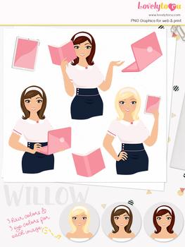 Woman teacher character clipart, business girl avatar clip art (Olivia L117)