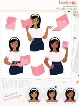 Woman teacher character clipart, business girl avatar clip art (Oona L118)