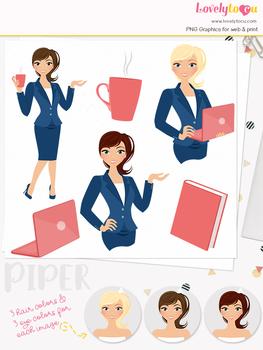 Woman teacher character clipart, business girl avatar clip art (Piper L107)