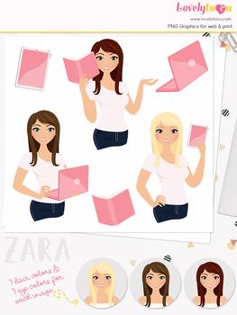 Woman teacher character clipart, business girl avatar clip art (Zara L119)