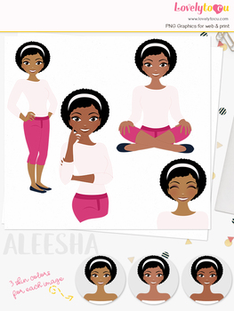 Woman teacher character clipart, girl avatar basic pose clip art (Aleesha L249)