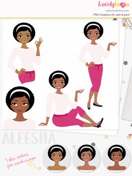 Woman teacher character clipart, girl avatar basic pose clip art (Aleesha L250)