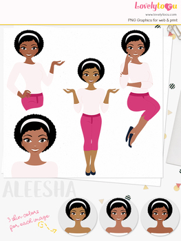 Woman teacher character clipart, girl avatar basic pose clip art (Aleesha L251)