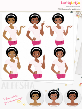 Woman teacher character clipart, girl avatar basic pose clip art (Aleesha L252)