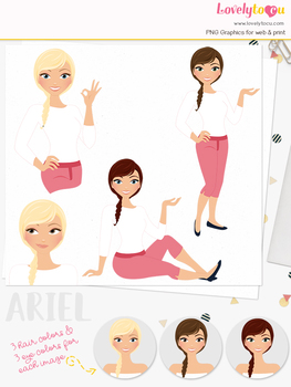 Woman teacher character clipart, girl avatar basic pose clip art (Ariel L246)