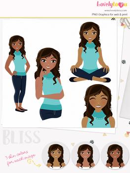 Woman teacher character clipart, girl avatar basic pose clip art (Bliss L005)